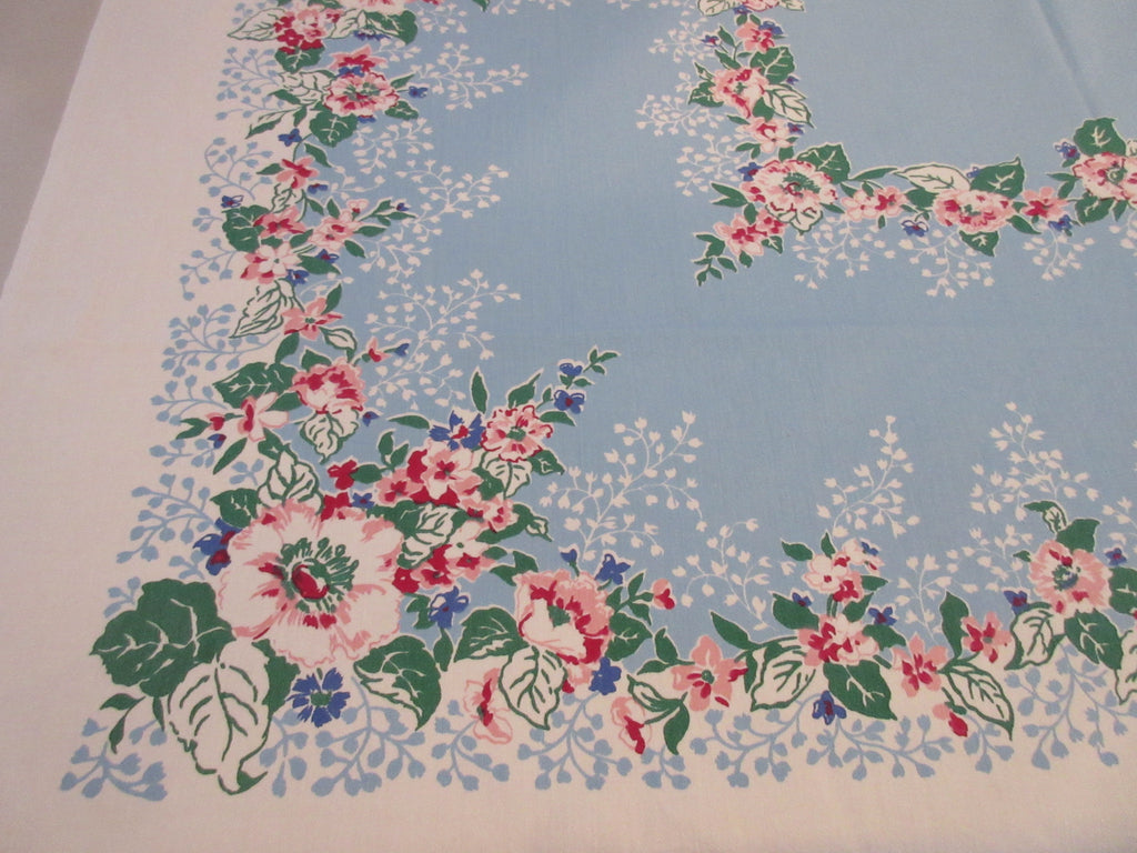 Pink Hibiscus on Blue Floral Vintage Printed Tablecloth (50 X 47)