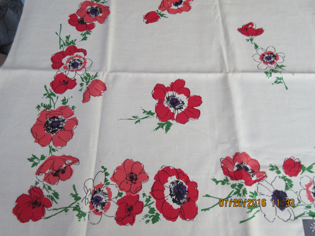 Bright Coral Peach Anenomes MWT Linen Floral Vintage Printed Tablecloth (70 X 51)