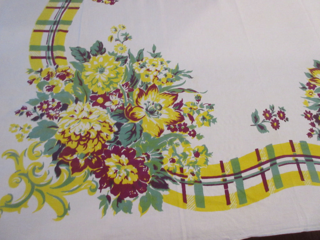 Fall Carnations Plaid Ribbon Floral Vintage Printed Tablecloth (62 X 48)
