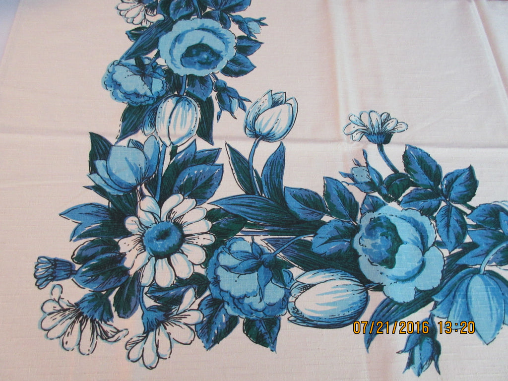 Blue Tulips Daisies on Tan Floral MWT Vintage Printed Tablecloth (52 X 50)