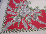 Gray Pansies on Red Floral Vintage Printed Tablecloth (48 X 47)