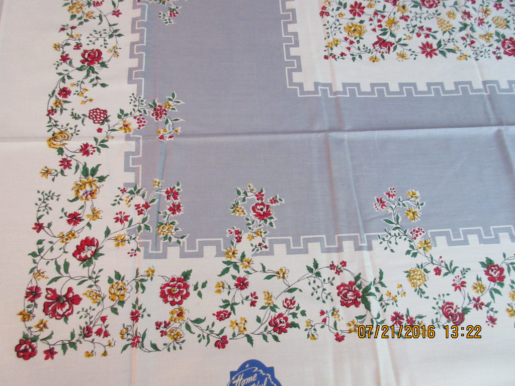 Primary Yellow Red Green Roses on Gray Floral MWT Vintage Printed Tablecloth (53 X 50)