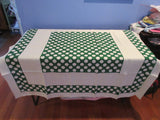 Bold MCM Reverse Printed Polkadots on Green Napkins MWT Linen Novelty Vintage Printed Tablecloth (52 X 52)