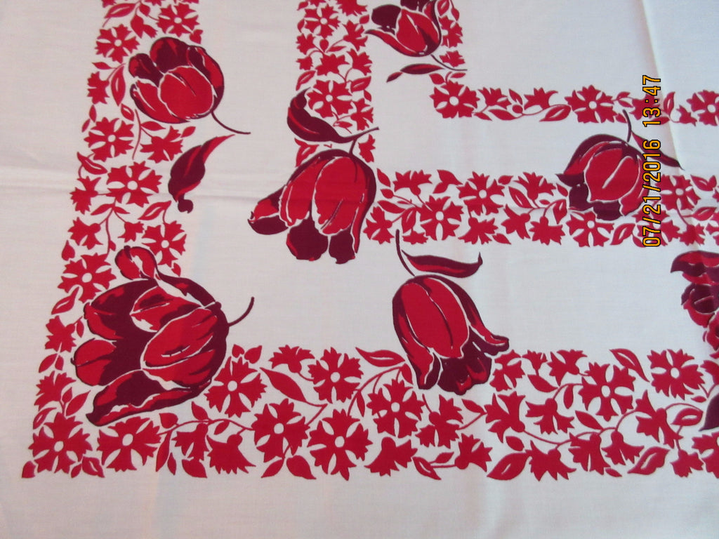 Early Red Magenta Tulips Floral MWT Vintage Printed Tablecloth (49 X 49)