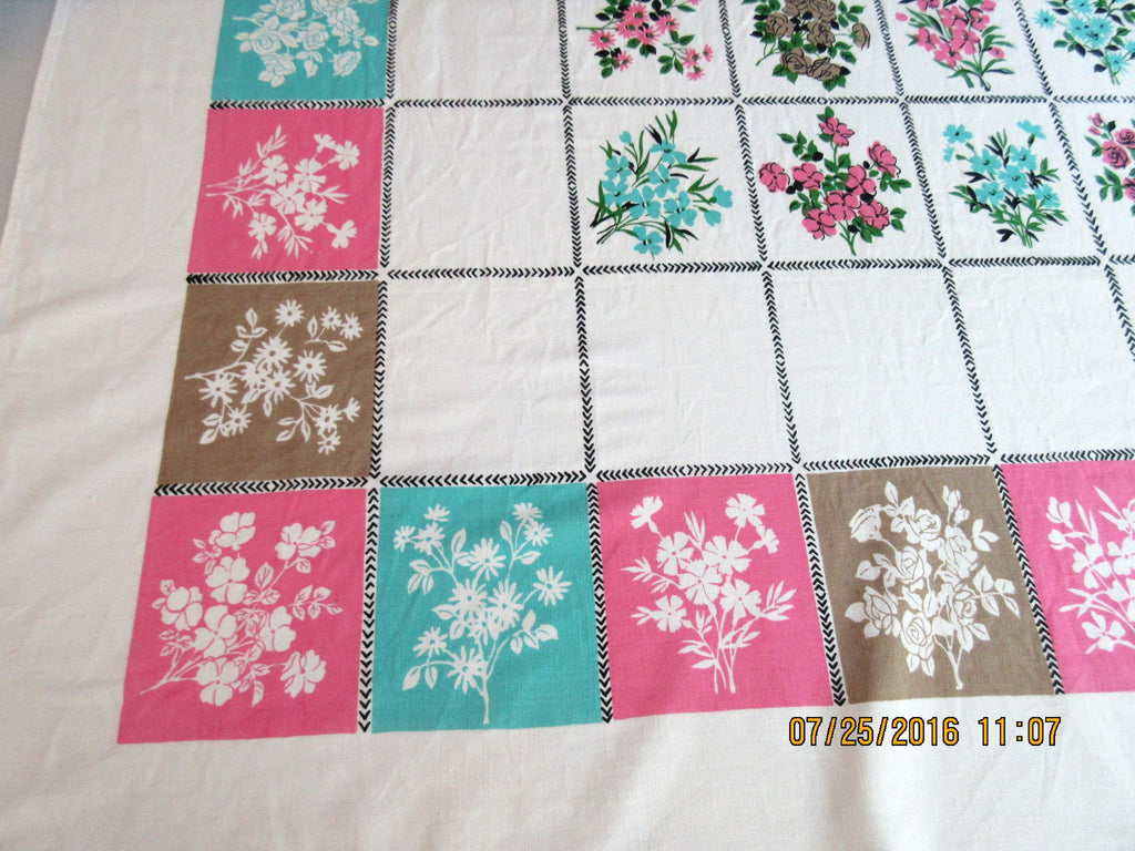 Pink Aqua Brown Flower Squares NWOT Floral Vintage Printed Tablecloth (64 X 54)