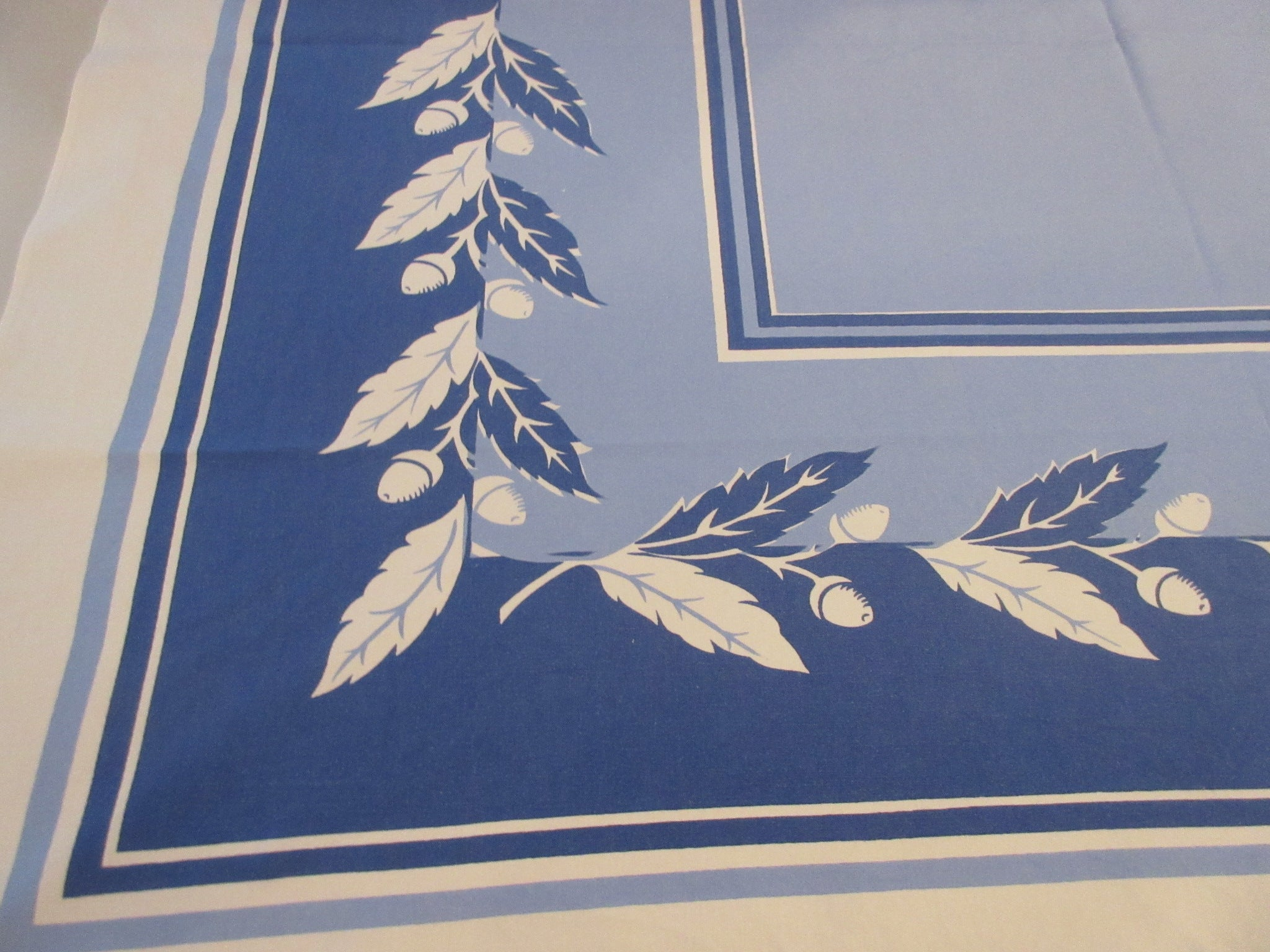Bold Acorns on Blue Fall Novelty Vintage Printed Tablecloth (51 X 45)