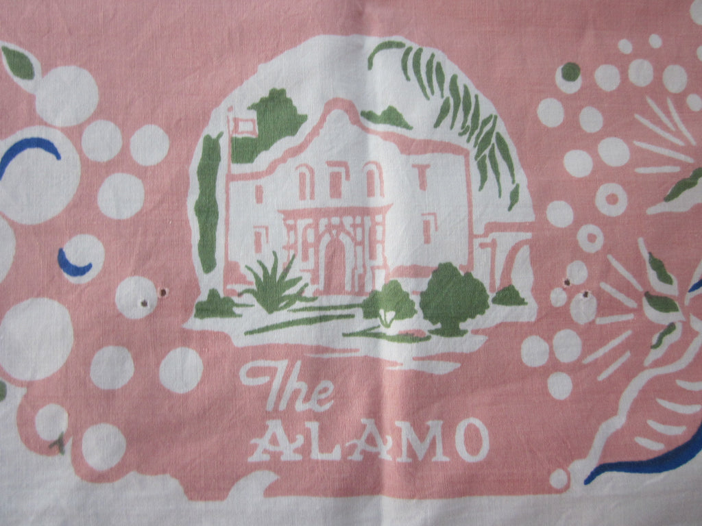 San Antonio Texas Sights Souvenir Vintage Printed Tablecloth (54 X 51)