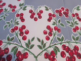 Bright Cherry Hearts on Gray Fruit Vintage Printed Tablecloth (63 X 54)