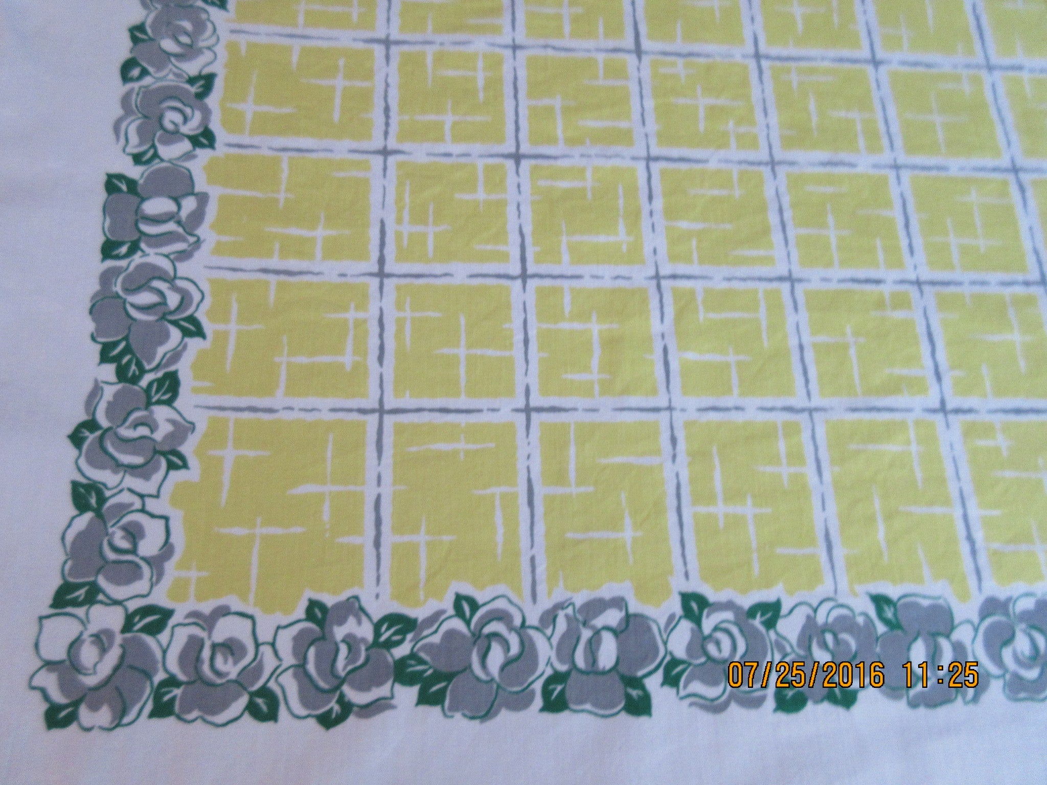 Gray Green Begonias on Yellow Plaid Floral Vintage Printed Tablecloth (52 X 49)