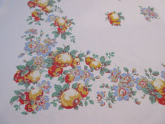 HTF Fall Apples Callaway Fruit Vintage Printed Tablecloth (52 X 47)