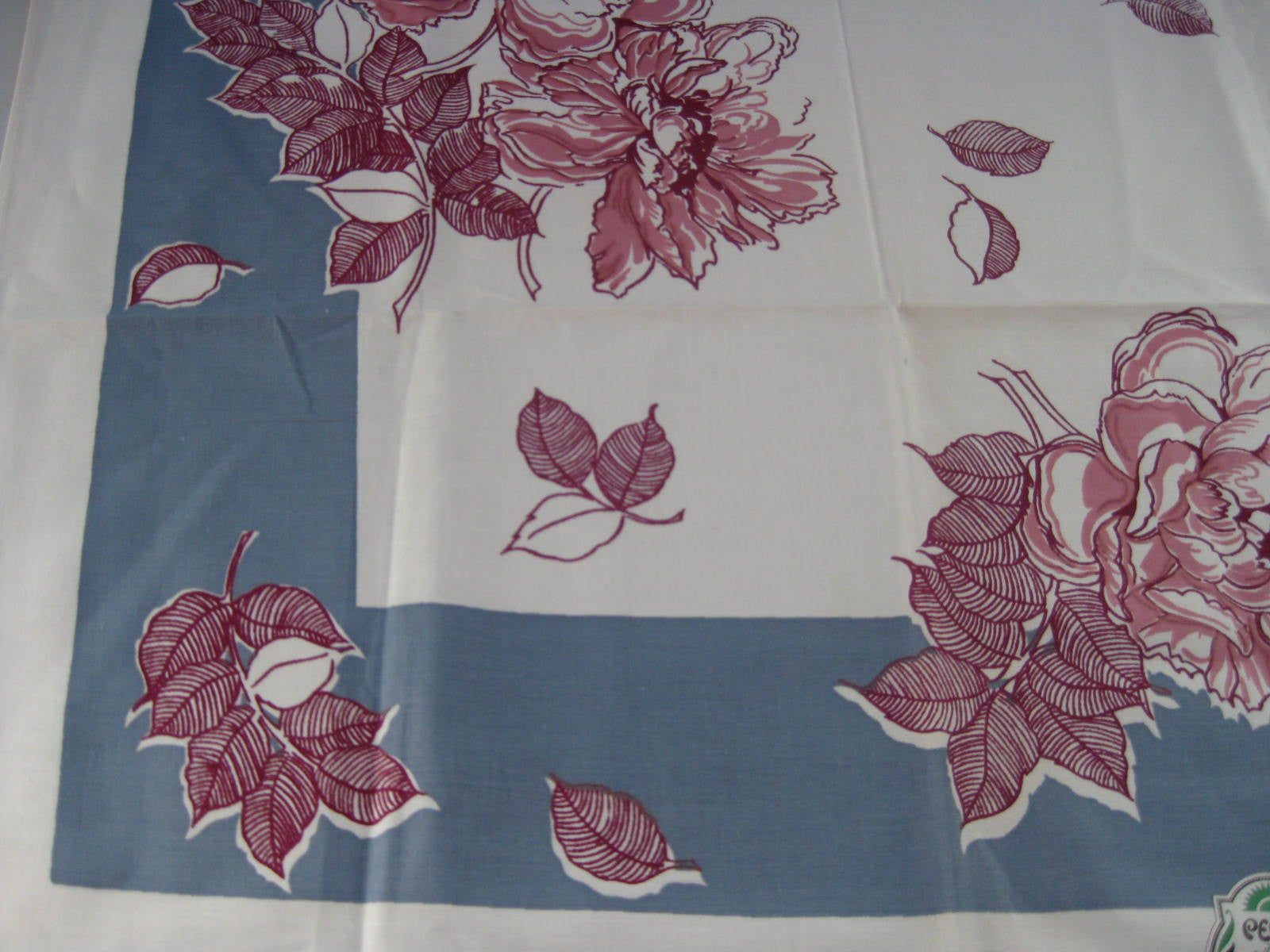 Modern Peonies on Blue Floral MWT Vintage Printed Tablecloth (67 X 51)