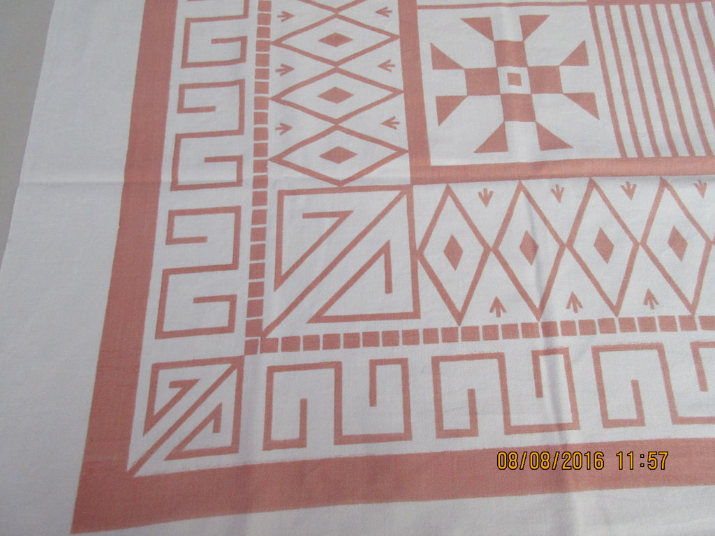Peach Geometric Lines Diamonds Graphic Novelty Cutter? Vintage Printed Tablecloth (50 X 49)