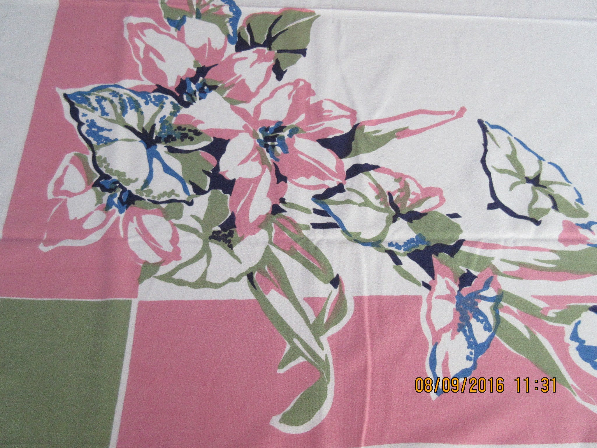 Graphical Lilies Begonias on Pink Olive Green Floral Vintage Printed Tablecloth (66 X 50)