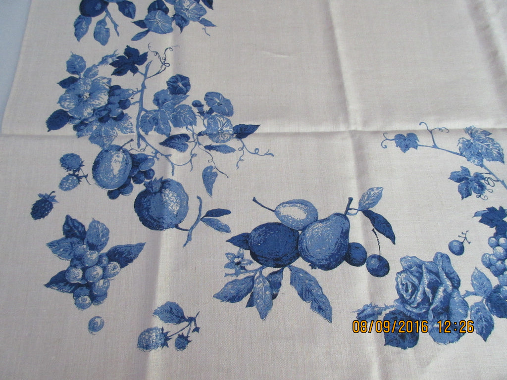 Beautiful Blue Fruit Luther Travis Linen MWT Vintage Printed Tablecloth (67 X 53)