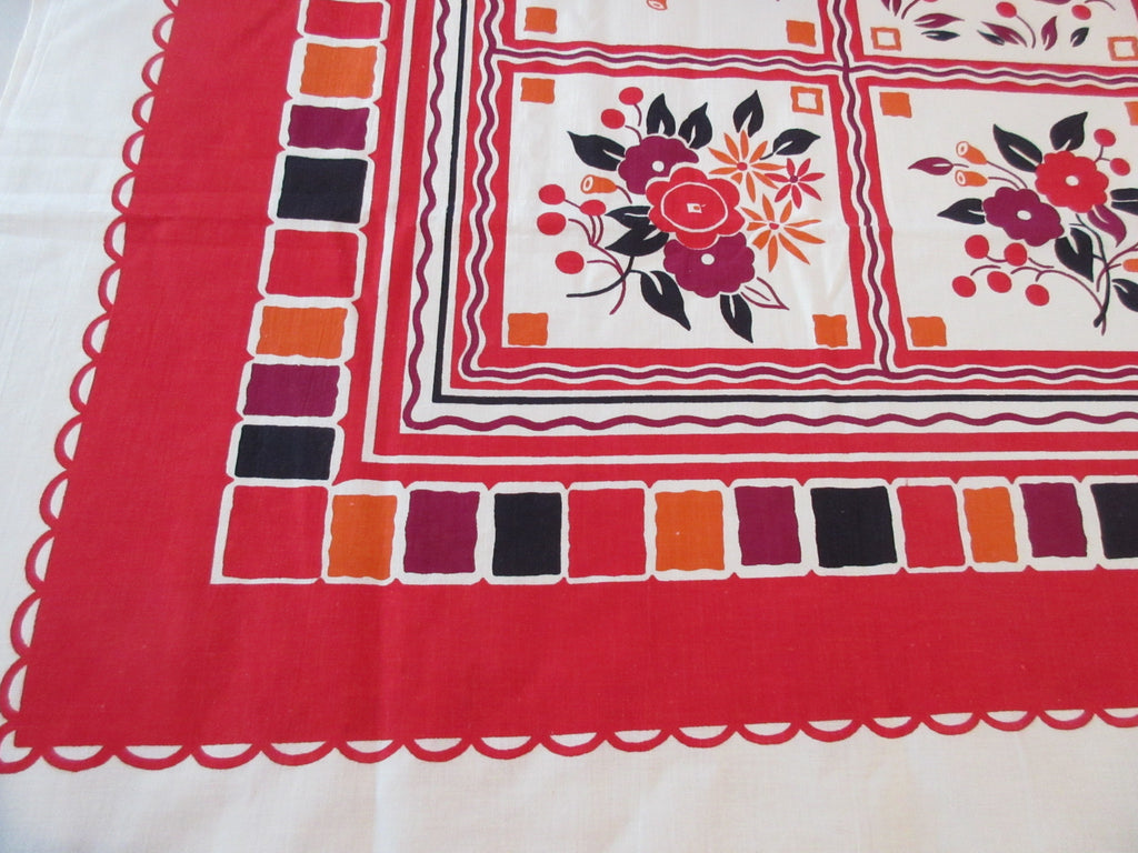 Mod Fall Flowers Cherries Unused? Floral Vintage Printed Tablecloth (50 X 48)