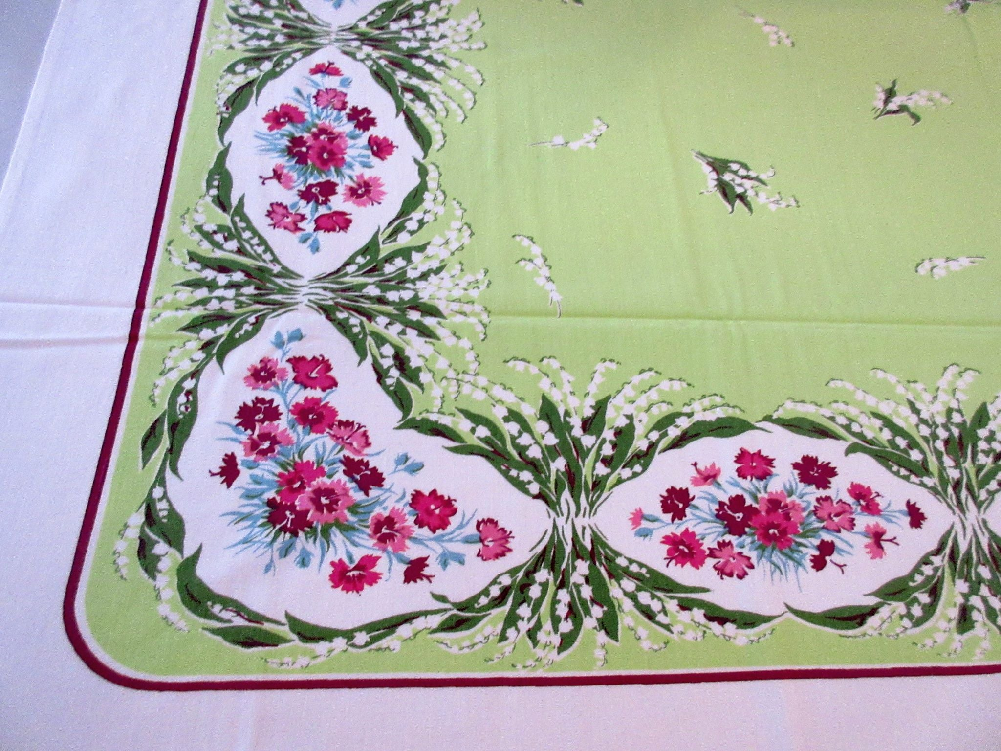 HTF Sweet William Lily of the Valley Floral Vintage Printed Tablecloth (51 X 46)