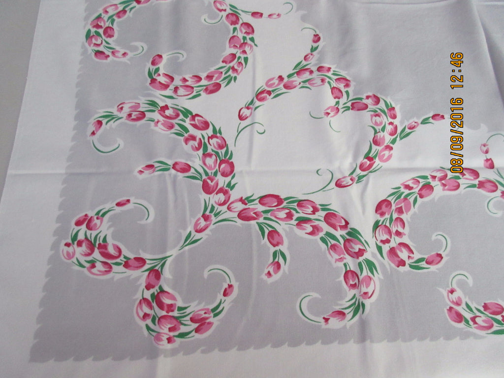 Tulip Hearts! Pink Green Tulips on Gray Floral Vintage Printed Tablecloth (48 X 42)
