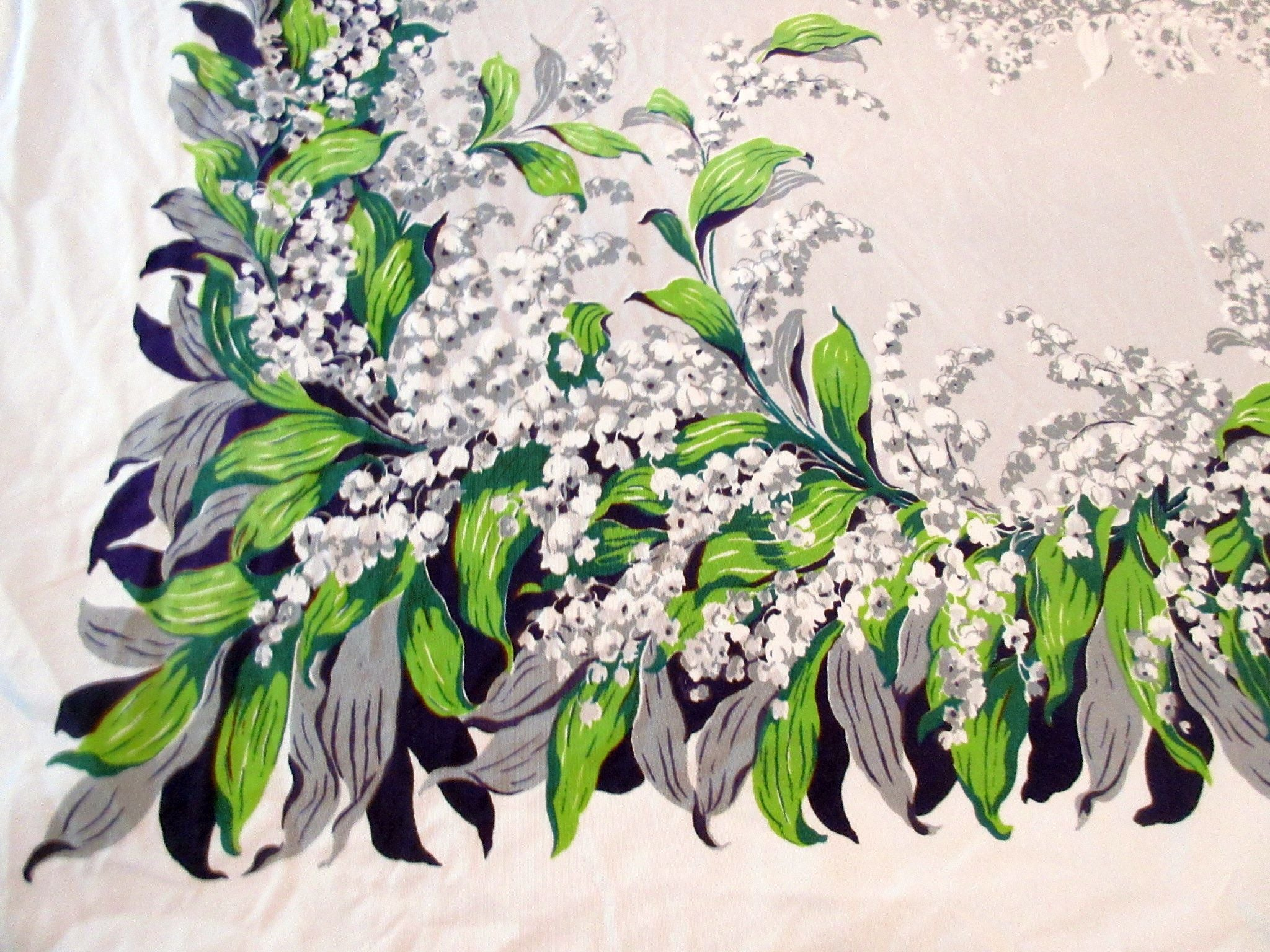 CHP Lily of the Valley on Gray CUTTER Floral Vintage Printed Tablecloth (66 X 52)