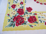 Bold Red Roses on Yellow Floral Vintage Printed Tablecloth (54 X 48)