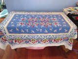 Amazing Rustic Cherries on Blue Fruit Vintage Printed Tablecloth (66 X 50)