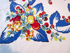 Giant Primary Fruit on Blue Leaves Vintage Printed Tablecloth (79 X 59)