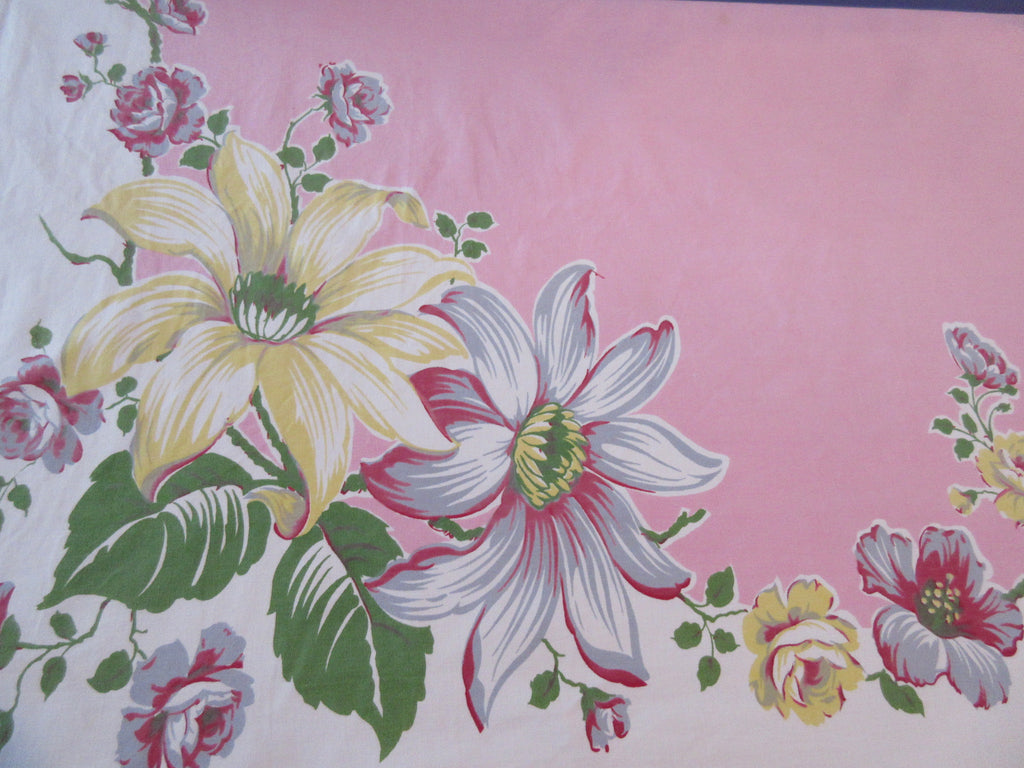 Glorious Daisies Hibiscus on Pink Floral Vintage Printed Tablecloth (63 X 51)