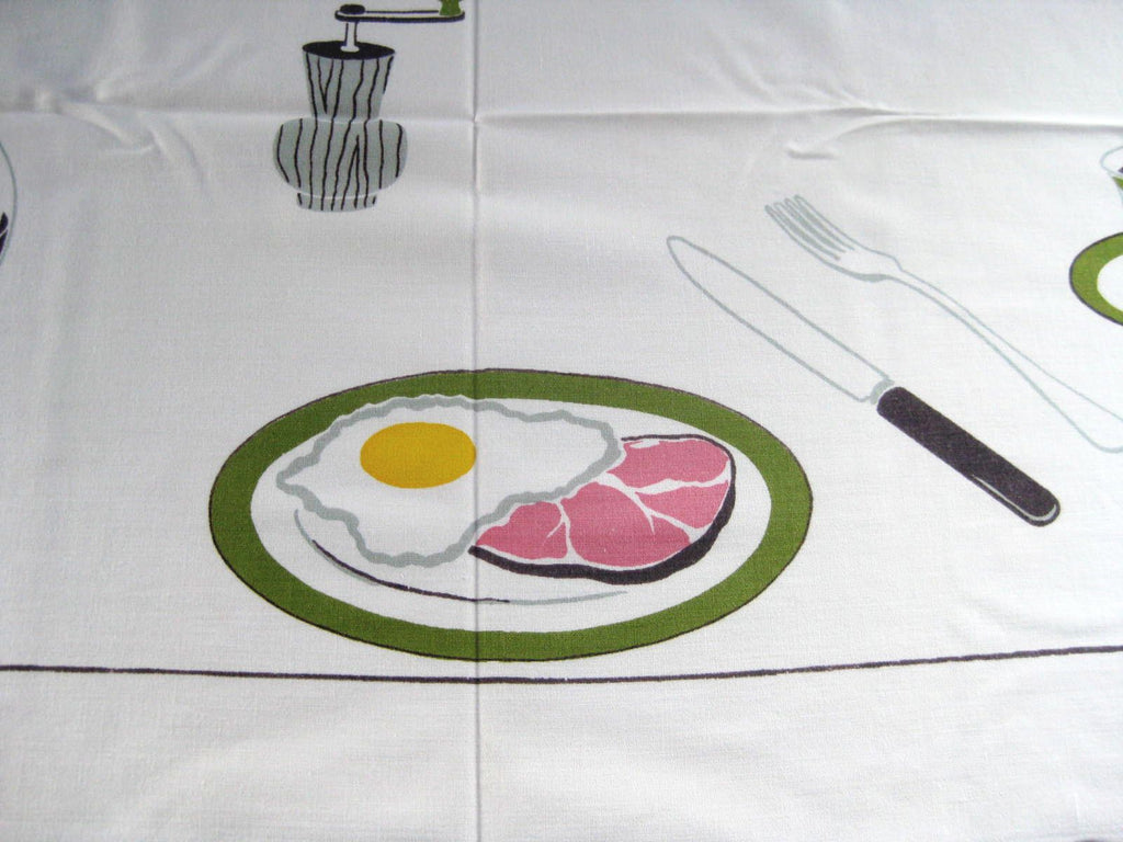 HTF Large Breakfast Ham and Eggs Novelty Vintage Printed Tablecloth (61 X 52)