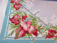 Tropical Flowers Bamboo on Blue Floral Vintage Printed Tablecloth (53 X 47)