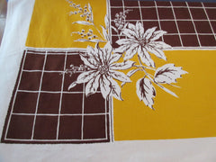 Fall Poinsettias on Brown Gold Floral Vintage Printed Tablecloth (66 X 51)