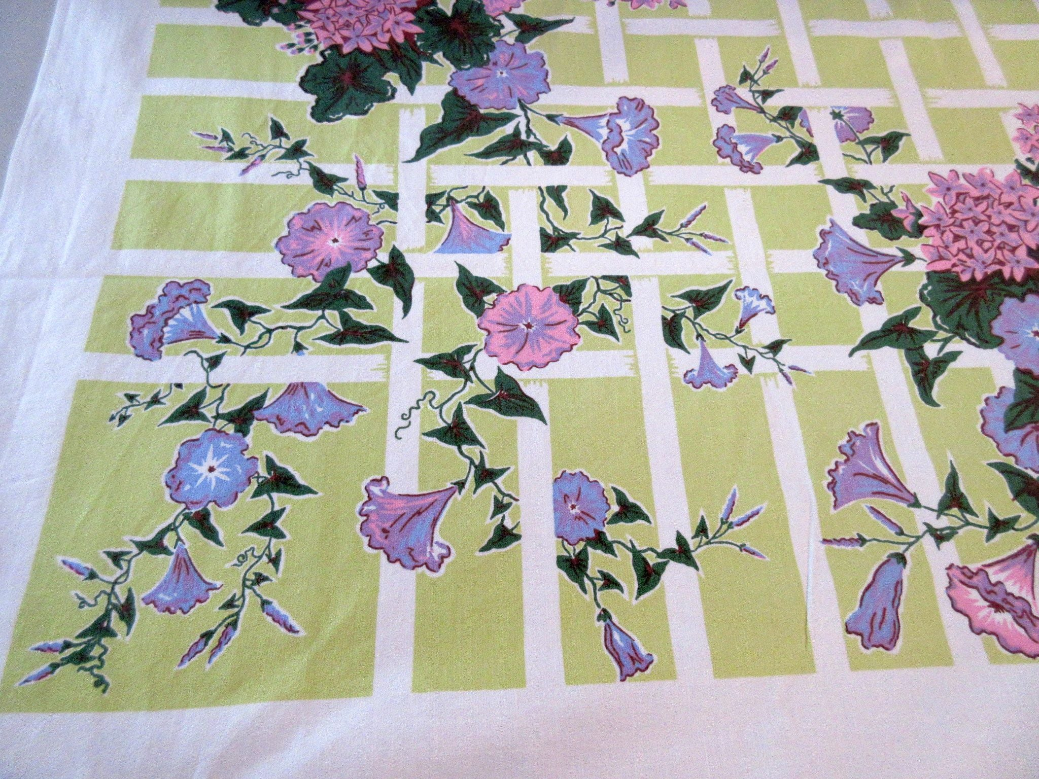 Pastel Morning Glories on Lime Floral Vintage Printed Tablecloth (52 X 50)