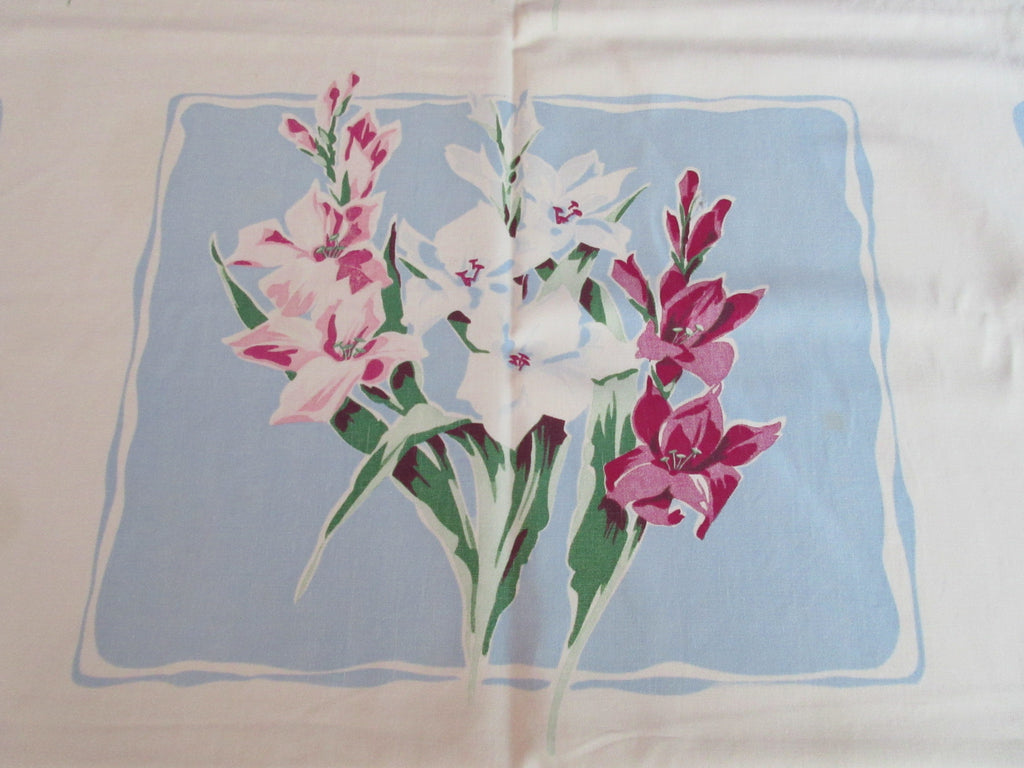 Wilendur Gladioli on Blue Squares Cutter Floral Vintage Printed Tablecloth (58 X 55)