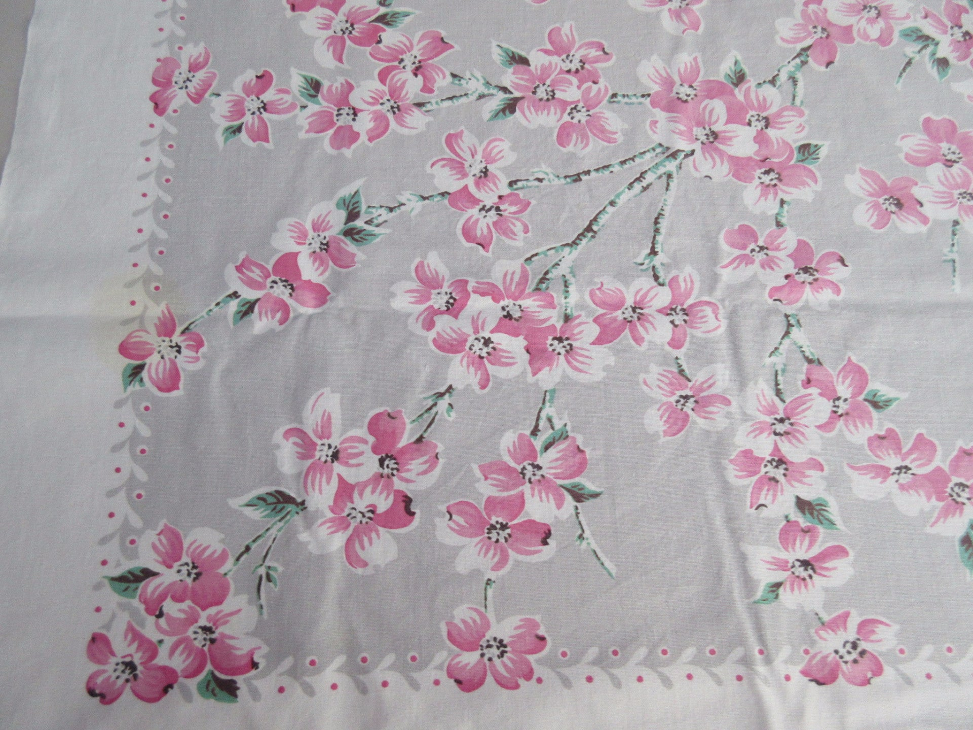 Pink Dogwood Branches on Gray Floral Cutter? Vintage Printed Tablecloth (49 X 46)