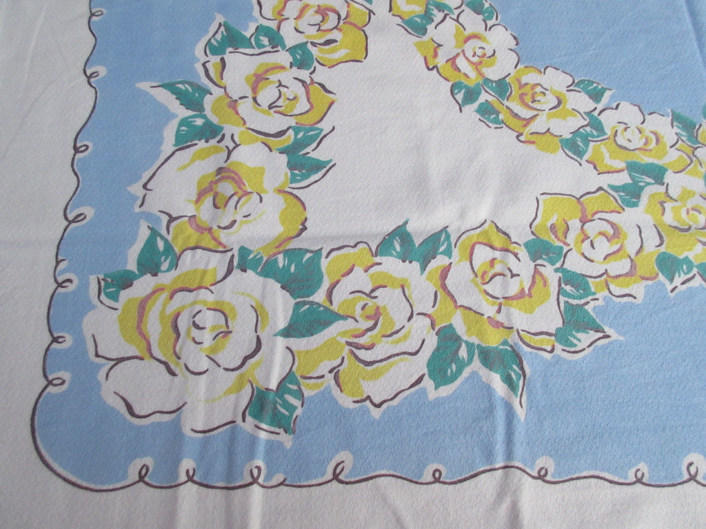 Yellow Green Gardenias on Blue Shabby Floral Vintage Printed Tablecloth (49 X 45)