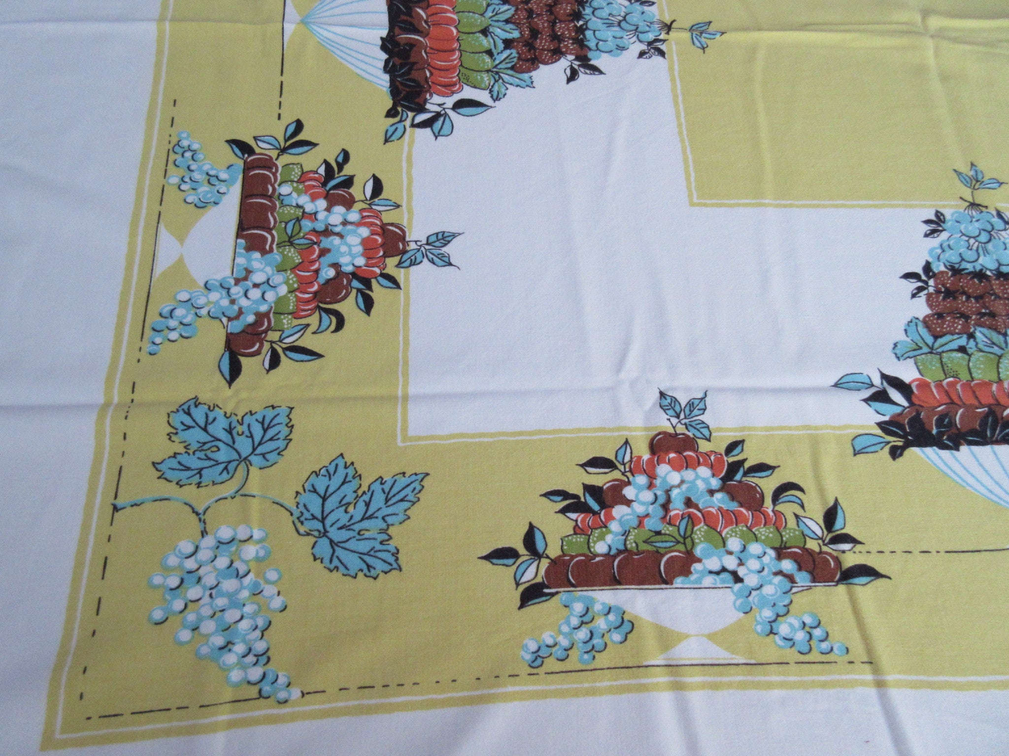 Fruit Compotes Towers Grapes on Gold Vintage Printed Tablecloth (52 X 42)