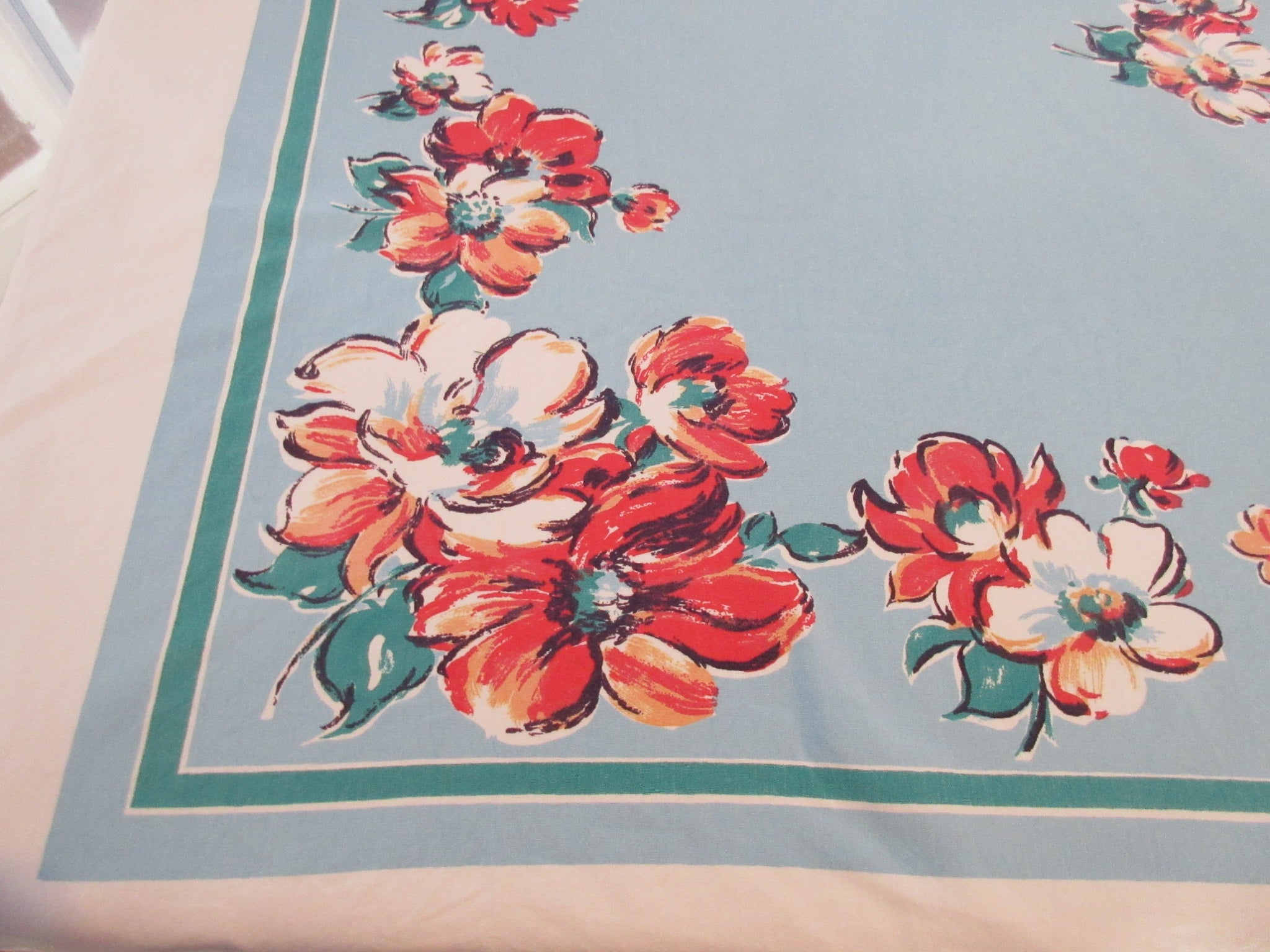 FOR LINDA Coral Poppies on Robin's Egg Blue Floral Vintage Printed Tablecloth (53 X 46)