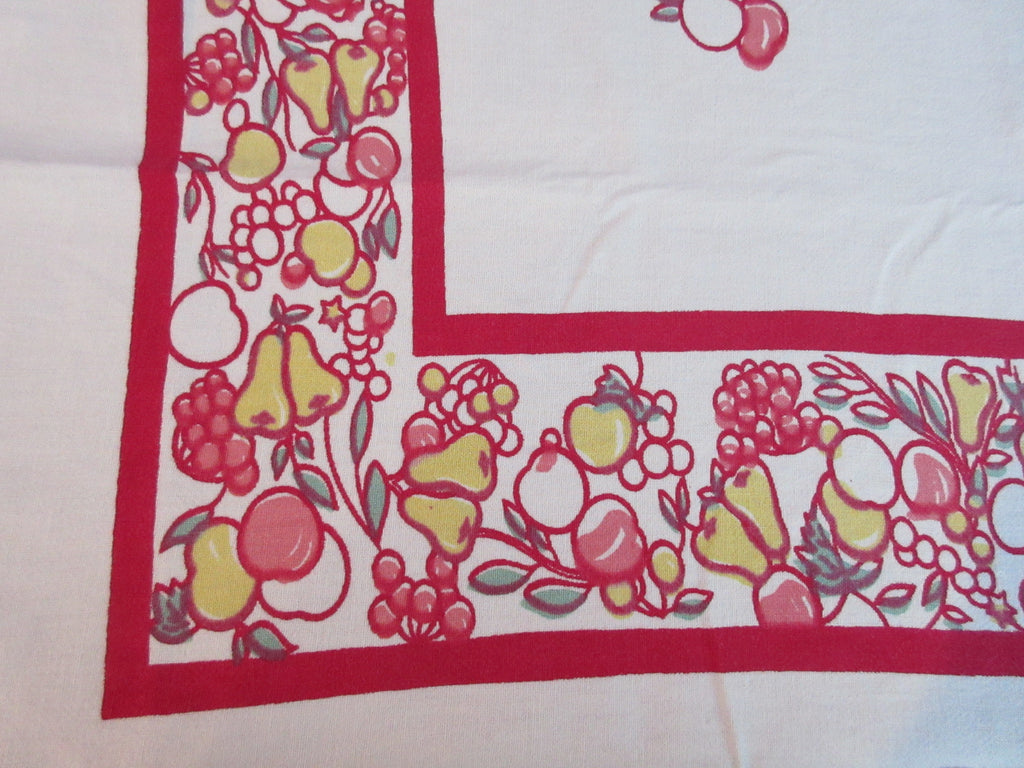 Rustic Stained Glass Fruit Circles on Red Vintage Printed Tablecloth (62 X 55)