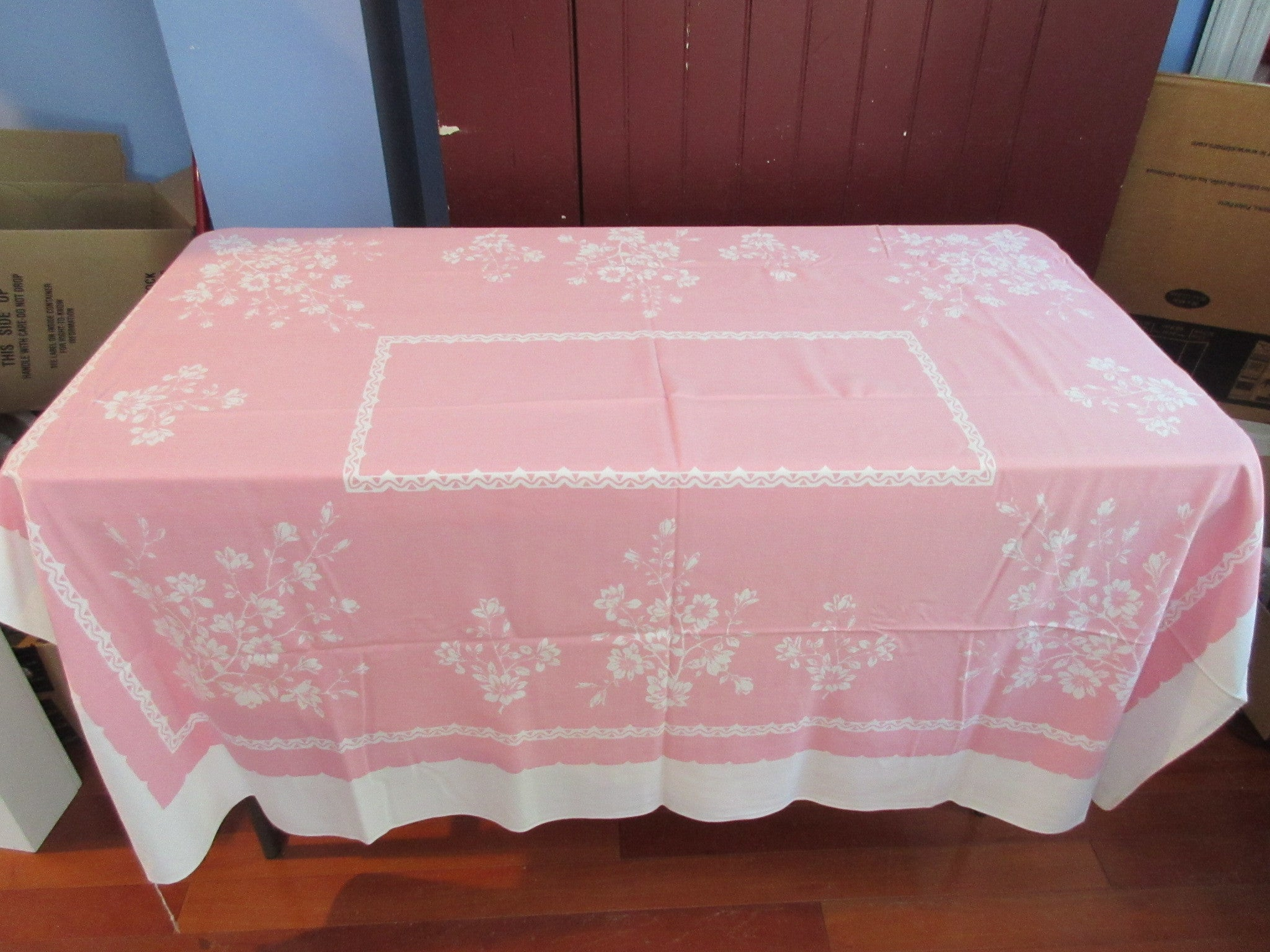 Pink reverse printed valentines floral vintage printed for Table 52 valentine s day