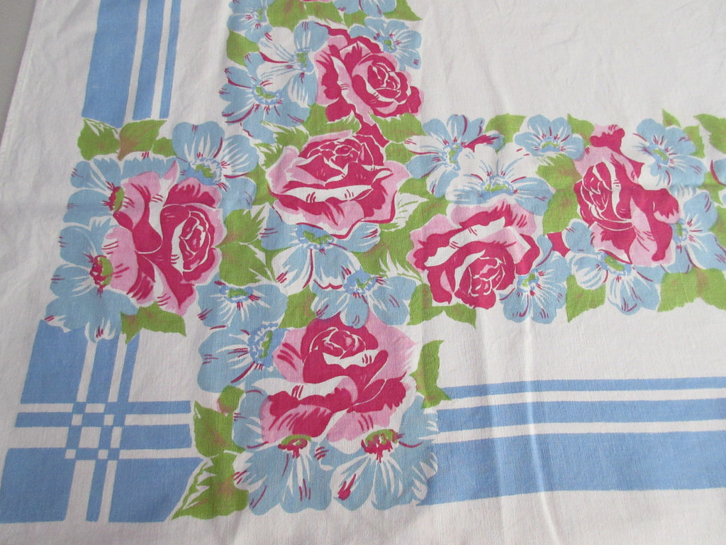 Pink Roses Blue Daisies on Blue Floral Vintage Printed Tablecloth (64 X 52)