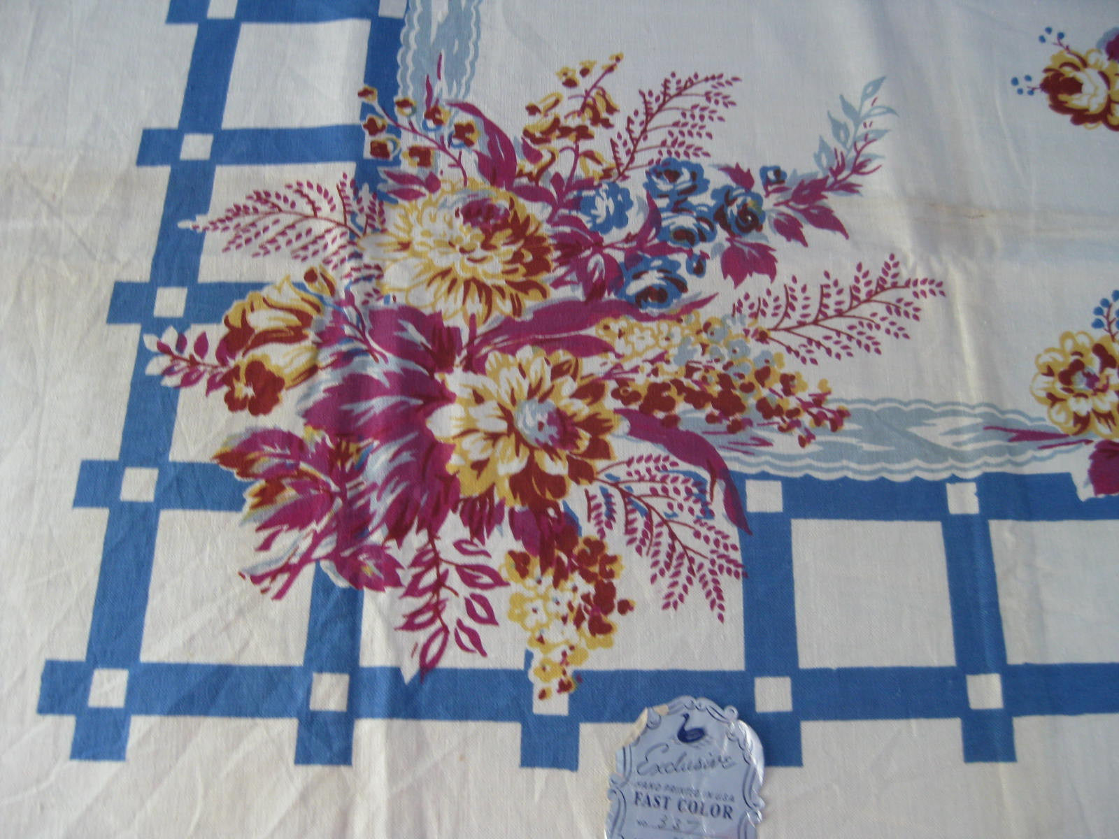 Early Magenta Yellow Flowers on Blue Floral MWT Vintage Printed Tablecloth (52 X 50)
