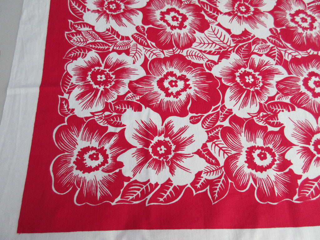 Bright Reverse Printed Red Poppies Cutter? Floral Vintage Printed Tablecloth (52 X 49)
