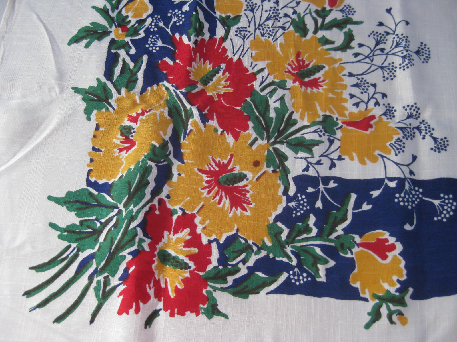 Yellow Red Hibiscus on Blue Rayon Floral MWT Vintage Printed Tablecloth (49 X 48)