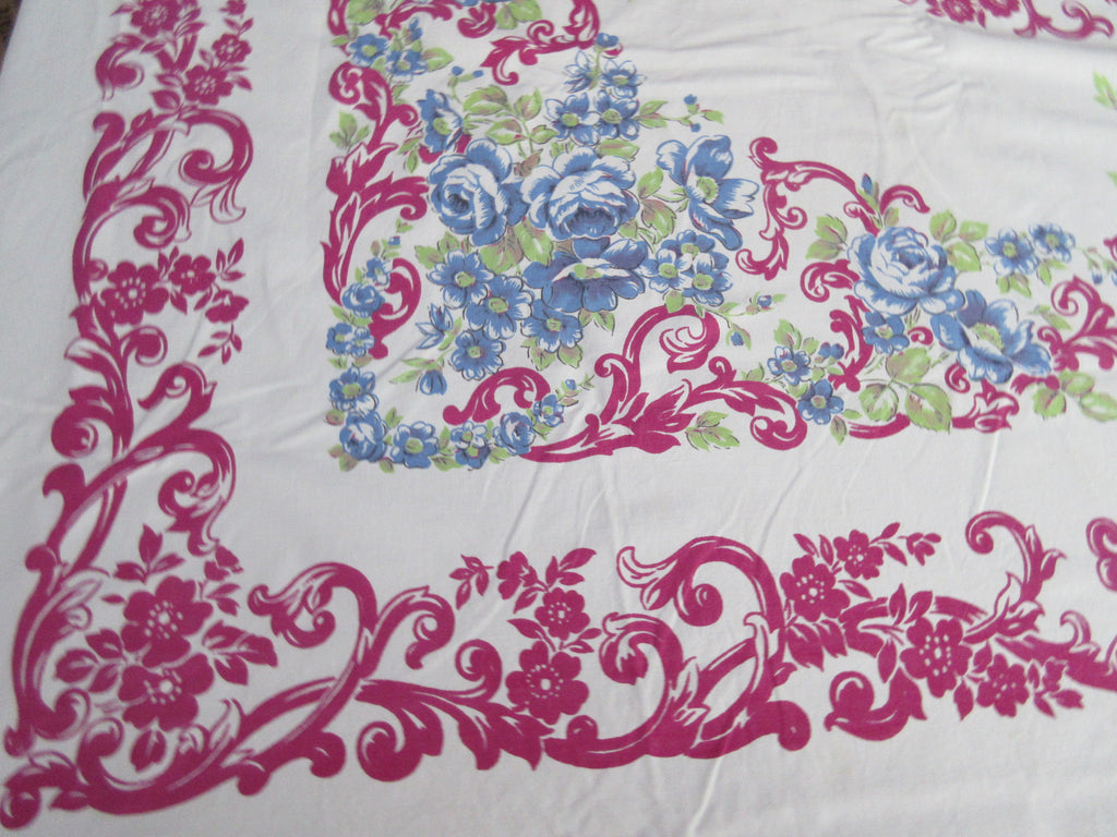 Giant Blue Green Roses Magenta Scrolls Cutter? Floral Vintage Printed Tablecloth (83 X 73)