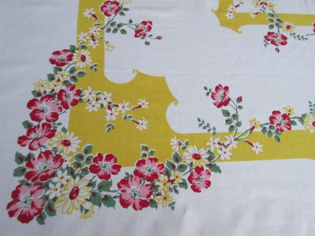 Stunning Red Green Wild Roses on Gold Yellow Floral Vintage Printed Tablecloth (49 X 48)