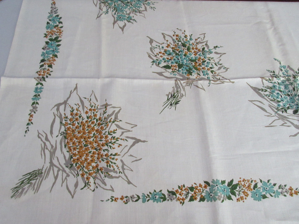 Fall Flowers Nosegays Taupe Teal Brown Floral MWT Vintage Printed Tablecloth (69 X 51)