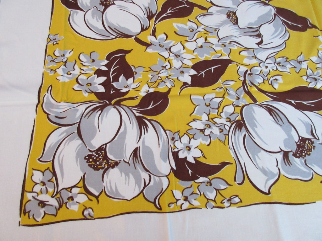 Bright Brown Magnolias on Gold Fall Floral Vintage Printed Tablecloth (51 X 46)