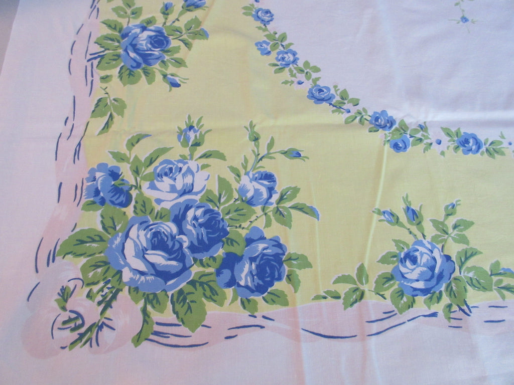 Blue Green Roses on Lemon Yellow Floral Vintage Printed Tablecloth (53 X 49)