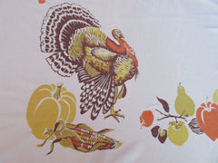 CHP Thanksgiving Turkey Damaged Holidays Novelty Vintage Printed Tablecloth (61 X 54)