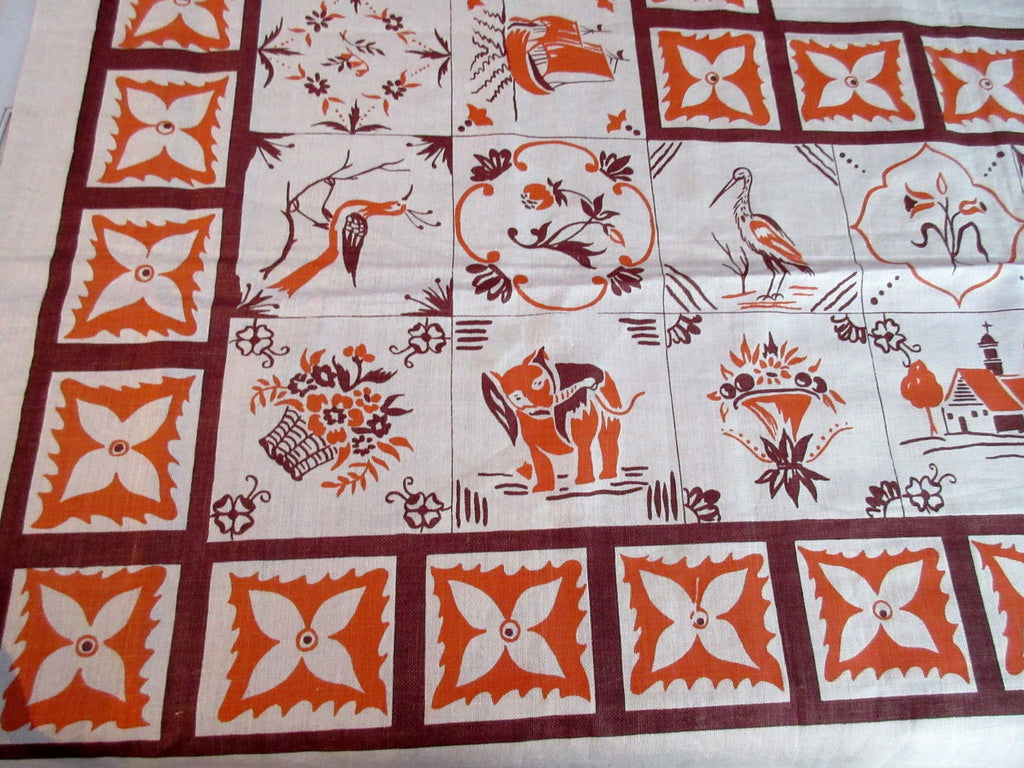 Fall Animals Elephants Cranes Linen MWOT Novelty Vintage Printed Tablecloth (50 X 48)