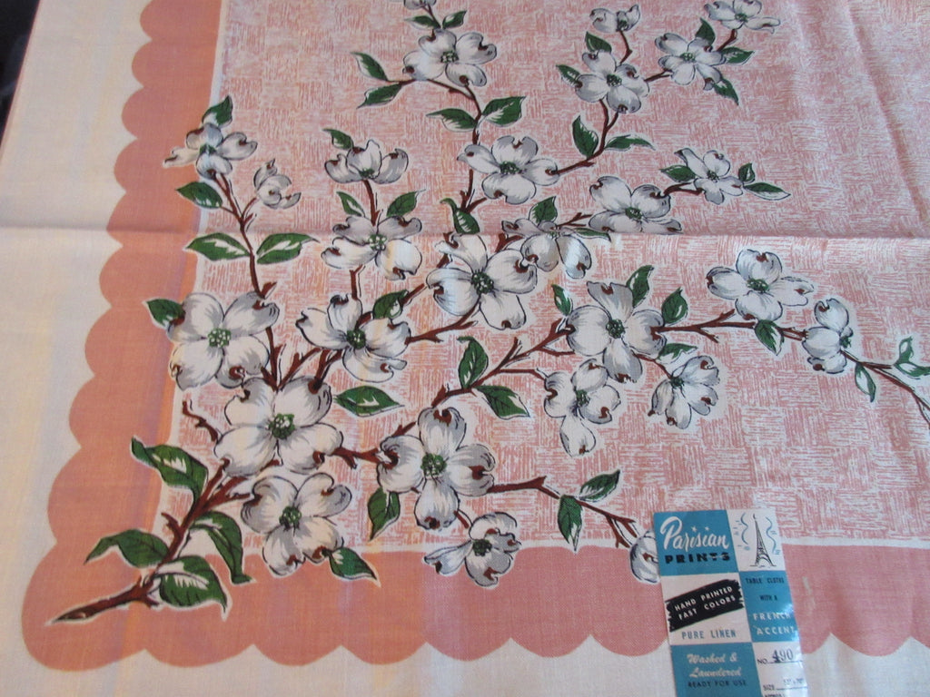 Grey Green Dogwood on Peach Basketweave Floral MWT Vintage Printed Tablecloth (70 X 49)