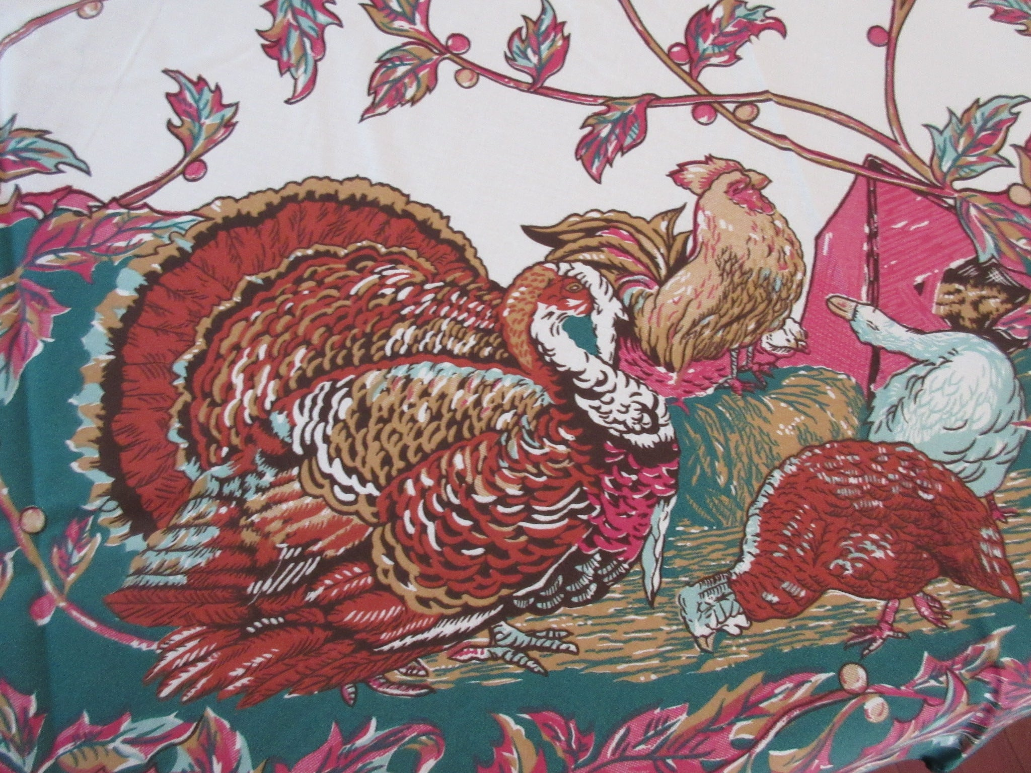 ROUND 70 Thanksgiving Turkey Leacock NOS Novelty Vintage Retro Tablecloth (70 X 69)